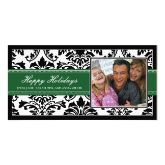 Elegant Black & Green Damask Custom Happy Holidays Card