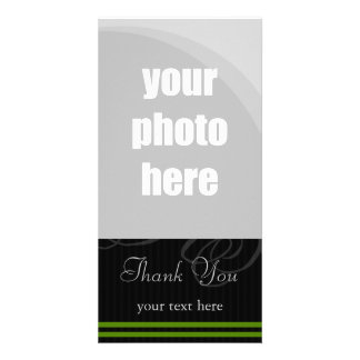 "Elegant Black/Green ""Thank You"" Card"