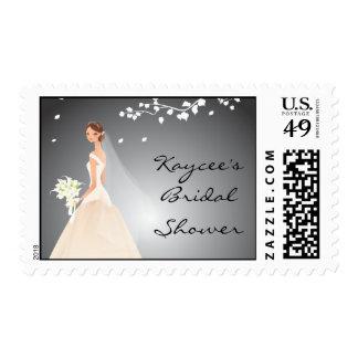 Elegant Black & Grey Bride Bridal Shower Postage