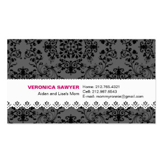 Elegant Black & Grey Damask with Lace Profile / Mo Double-Sided Standard Business Cards (Pack Of 100)