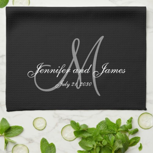 Elegant Black Grey Monogram Newlywed Wedding Hand Towel