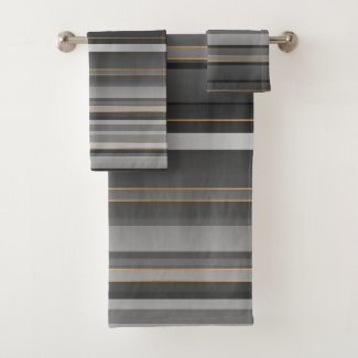 Elegant Black Grey Rose Gold Striped Pattern Bath Towel Set