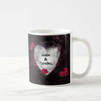 Elegant Black Heart and Red Roses Grunge Art Coffee Mugs