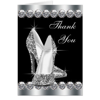 Elegant Black High Heel Shoe Thank You Cards Note Card