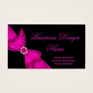 Elegant Black Hot Pink Diamond Bow Design 2 Business Card