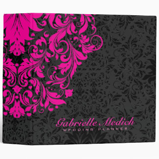 Elegant Black & Hot Pink Floral Vintage Damasks Binder