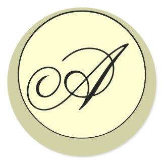 Elegant Black Ivory Sage Monogram Wedding Seal sticker