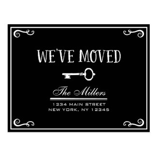 Elegant Black Key Moving Announcement Postcard