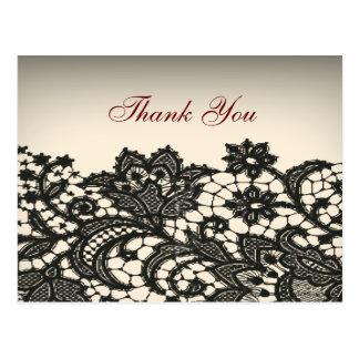 elegant black Lace beige vintage wedding thankyou Post Card