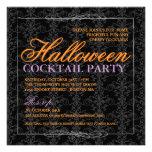 Elegant Black Lace Halloween Cocktail Party Announcements
