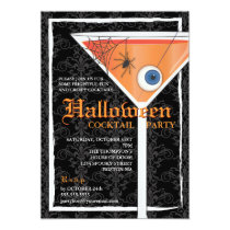 Elegant Black Lace Halloween Cocktail Party Invitation