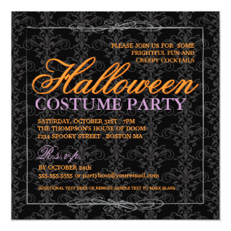 Elegant Black Lace Halloween Costume Party Card