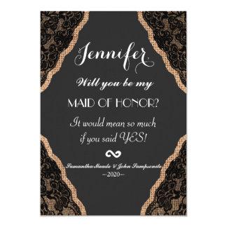 Elegant Black Lace on Burlap Jute Card
