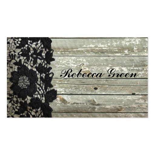 Elegant black lace pattern on grey barn board business cards