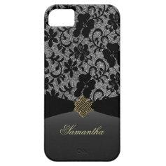 Elegant Black Lace Personalized iPhone 5 Case
