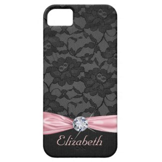 Elegant Black Lace Pink Satin Ribbon and Diamond iPhone 5 Covers
