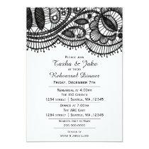 Elegant black Lace Rehearsal Dinner Invitation