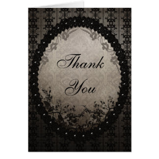 Elegant Black Lace & Sequins Thank You Wedding Card