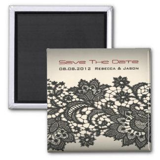elegant black Lace vintage wedding Save the date Magnet