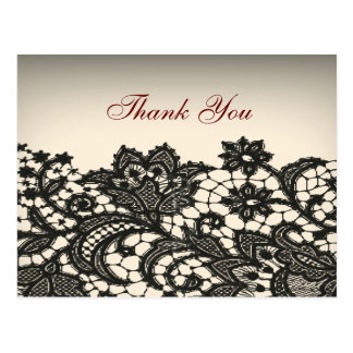 elegant black Lace vintage wedding thank you Postcard