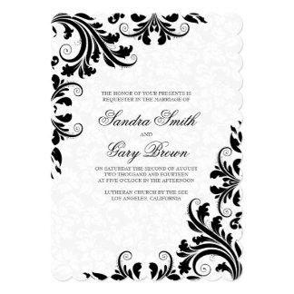 Elegant Black Lace White Damasks Wedding Invite