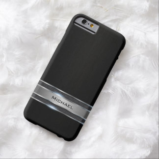 Elegant Black Leather and Silver Metal Label Look Barely There iPhone 6 Case