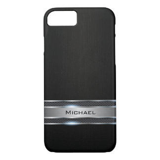 Elegant Black Leather and Silver Metal Label Look iPhone 7 Case