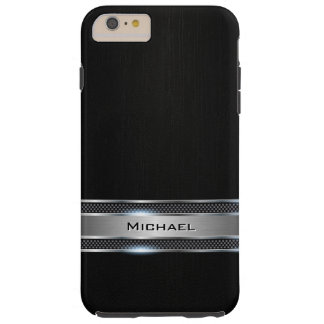 Elegant Black Leather and Silver Metal Label Look Tough iPhone 6 Plus Case
