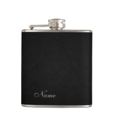 Elegant Black Leather Look  Personalized Hip Flask at Zazzle