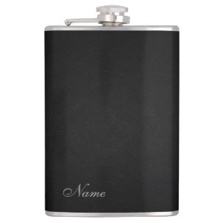 Elegant black leather look  personalized hip flask
