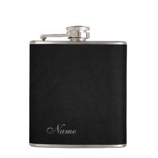 Elegant black leather look  personalized hip flasks