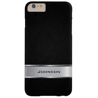 Elegant Black Leather Look with Silver Metal Label Barely There iPhone 6 Plus Case