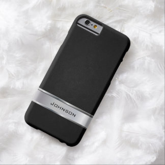 Elegant Black Leather Look with Silver Metal Label iPhone 6 Case