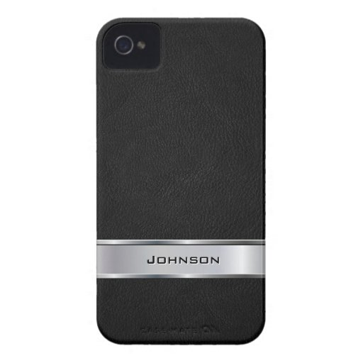 Elegant Black Leather Look with Silver Metal Label Case-Mate iPhone 4 Case