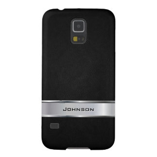 Elegant Black Leather Look with Silver Metal Label Galaxy S5 Cover