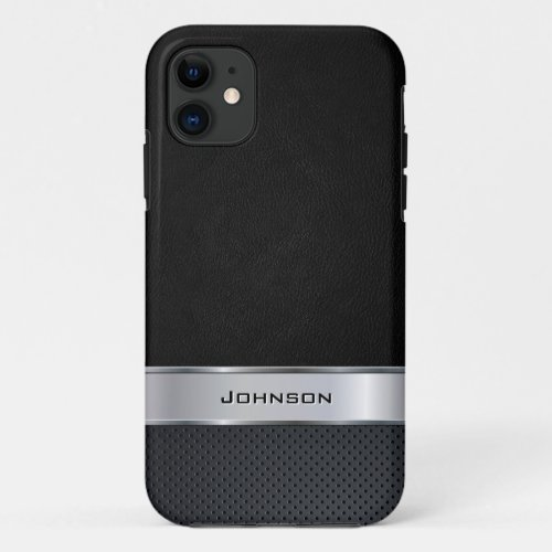 Elegant Black Leather Look with Silver Metal Label Phone Case