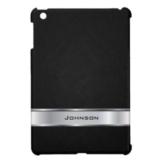Elegant Black Leather Look with Silver Metal Label Case For The iPad Mini