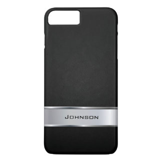 Elegant Black Leather Look with Silver Metal Label iPhone 7 Plus Case