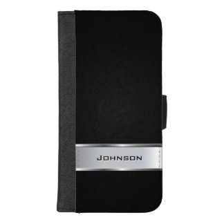 Elegant Black Leather Look with Silver Metal Label iPhone 8/7 Plus Wallet Case