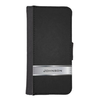 Elegant Black Leather Look with Silver Metal Label iPhone SE/5/5s Wallet
