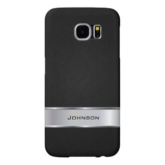 Elegant Black Leather Look with Silver Metal Label Samsung Galaxy S6 Cases
