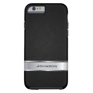 Elegant Black Leather Look with Silver Metal Label Tough iPhone 6 Case