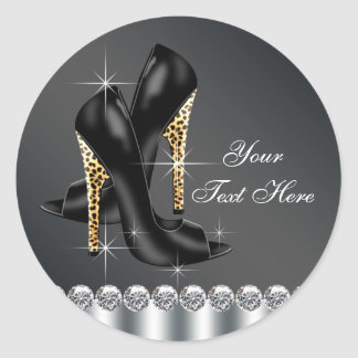 Elegant Black Leopard High Heel Shoe Stickers
