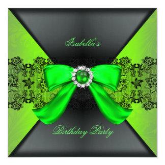 Elegant Black Lime Green Pearl Bow Birthday Party Card