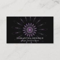Elegant Black Lotus Flower Logo Yoga Business Card