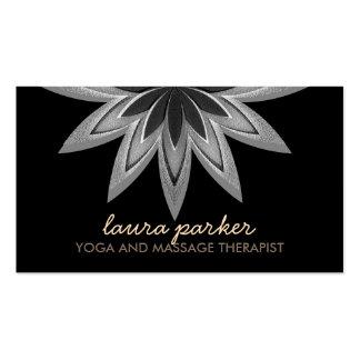 Elegant Black Lotus Flower  Yoga Healing Health Business Card