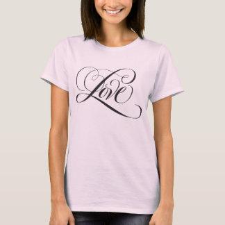 Elegant Black Love Hand Lettering - Pink T T-Shirt