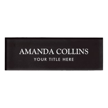 Professional Business Elegant black magnetic name tags