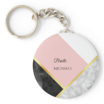 Elegant Black Marble Pink Color Block With Name Keychain