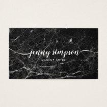 Elegant Black Marble Script Calligraphy Minimal Business Card